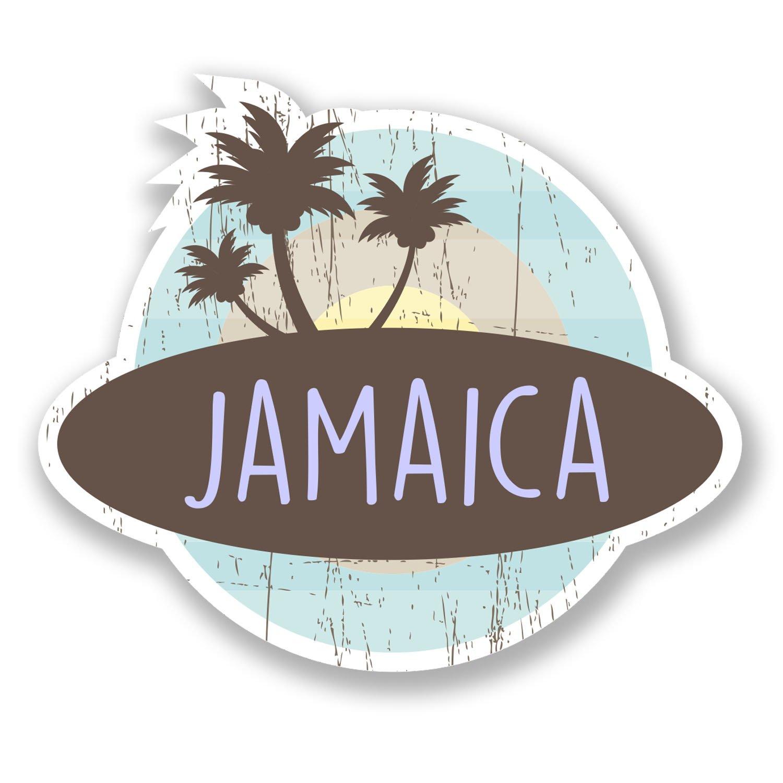 2 x 10cm Jamaica Caribbean Vinyl Sticker Laptop Travel Luggage Label Gift #6770