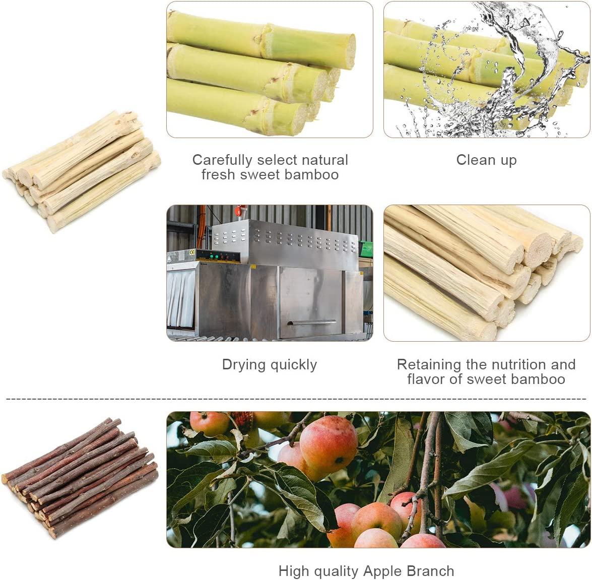 COITEK 200g Apple Sticks Pet Chew Toys All Natural Organic Apple Branches Guinea Pig Chew Molar Sticks Toys Pet Wooden Snacks for Rabbits Hamster Chinchilla Apple Branches 200g