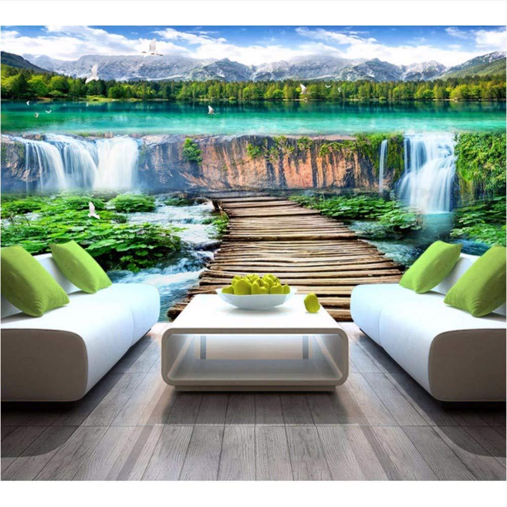 Weaeo 水の富の風景の壁紙の壁の3Dカスタム壁紙クリフウォーターフォールトレイル寝室の壁画の壁画-450X300Cm B07HF9TW3J 450X300CM 450X300CM