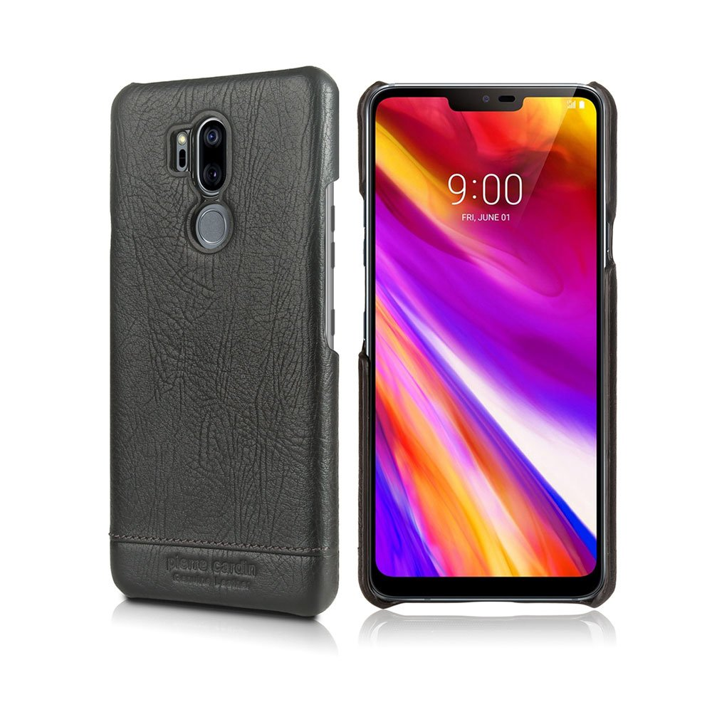 LG G7 ThinQ Case, Pierre Cardin Genuine Leather Premium Vintage Classic Business Style Hard Back Cover Slim Protective for Men for LG G7 ThinQ - Black
