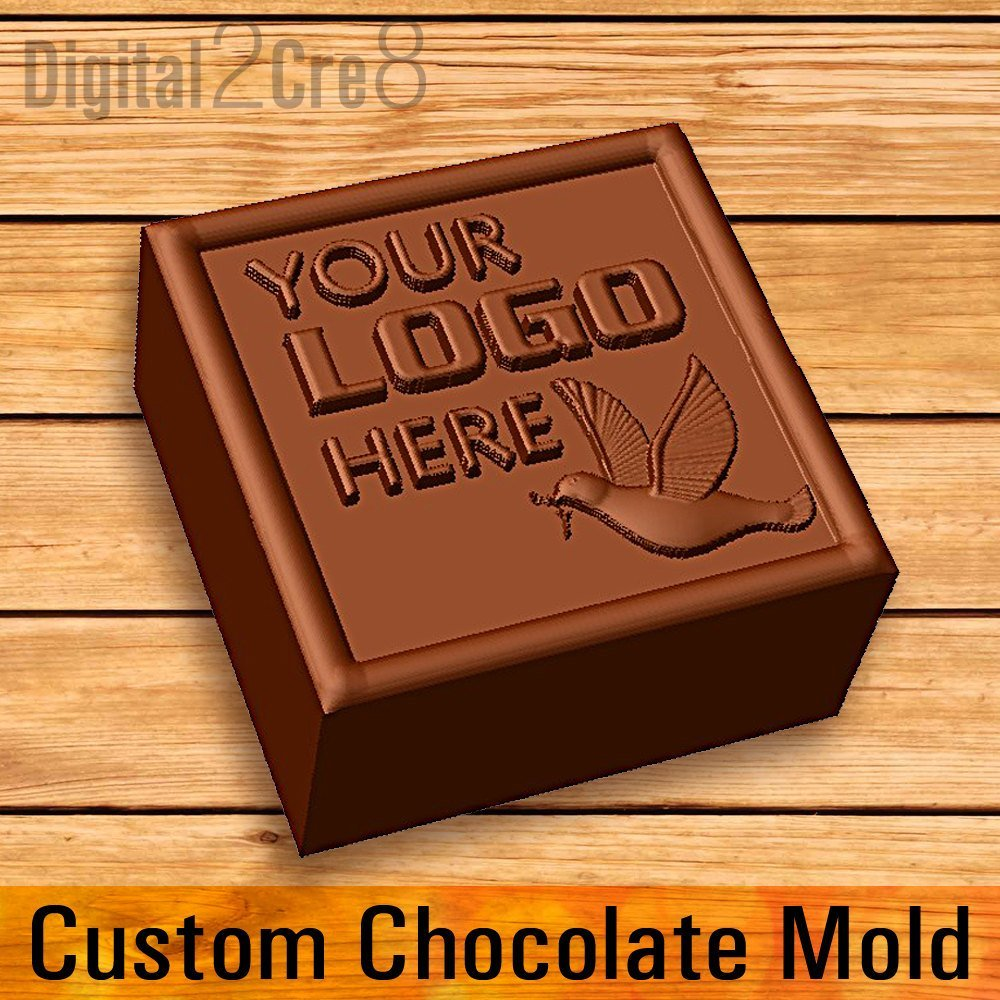 Digital2Cre8 Customize Chocolate Mold - Personalized Custom Logo Silicone Mold