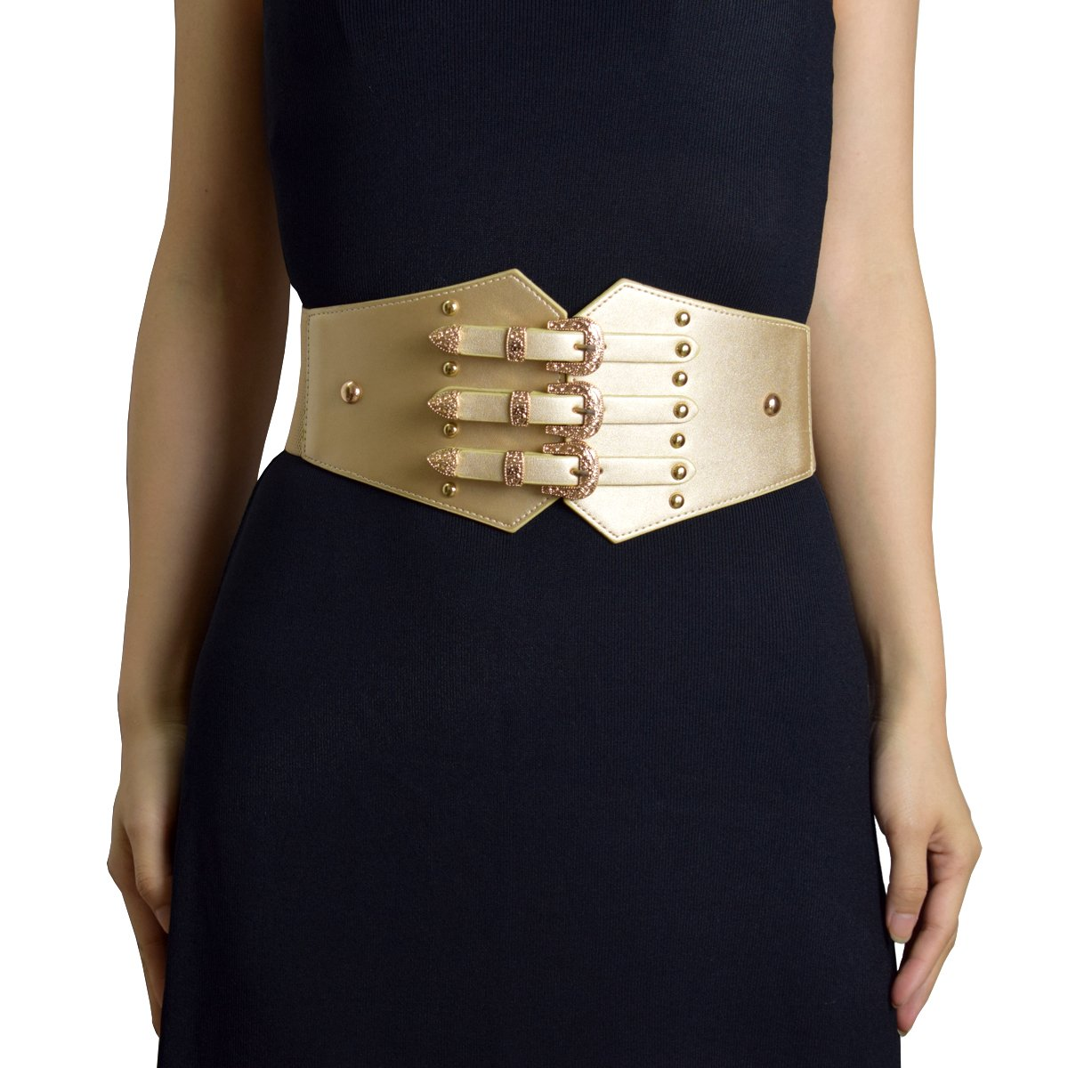 ZIFEIYU Women Vintage Leather Elastic Waist Belt Fashion Wide Belts with gold metal buckle, Multi-Colored to choose (Gold)