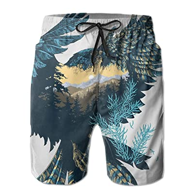 Men's Shorts Swim Beach Trunk Summer Eagle Forest Abstract Illustration Fit Fashion Shorts With Pockets
