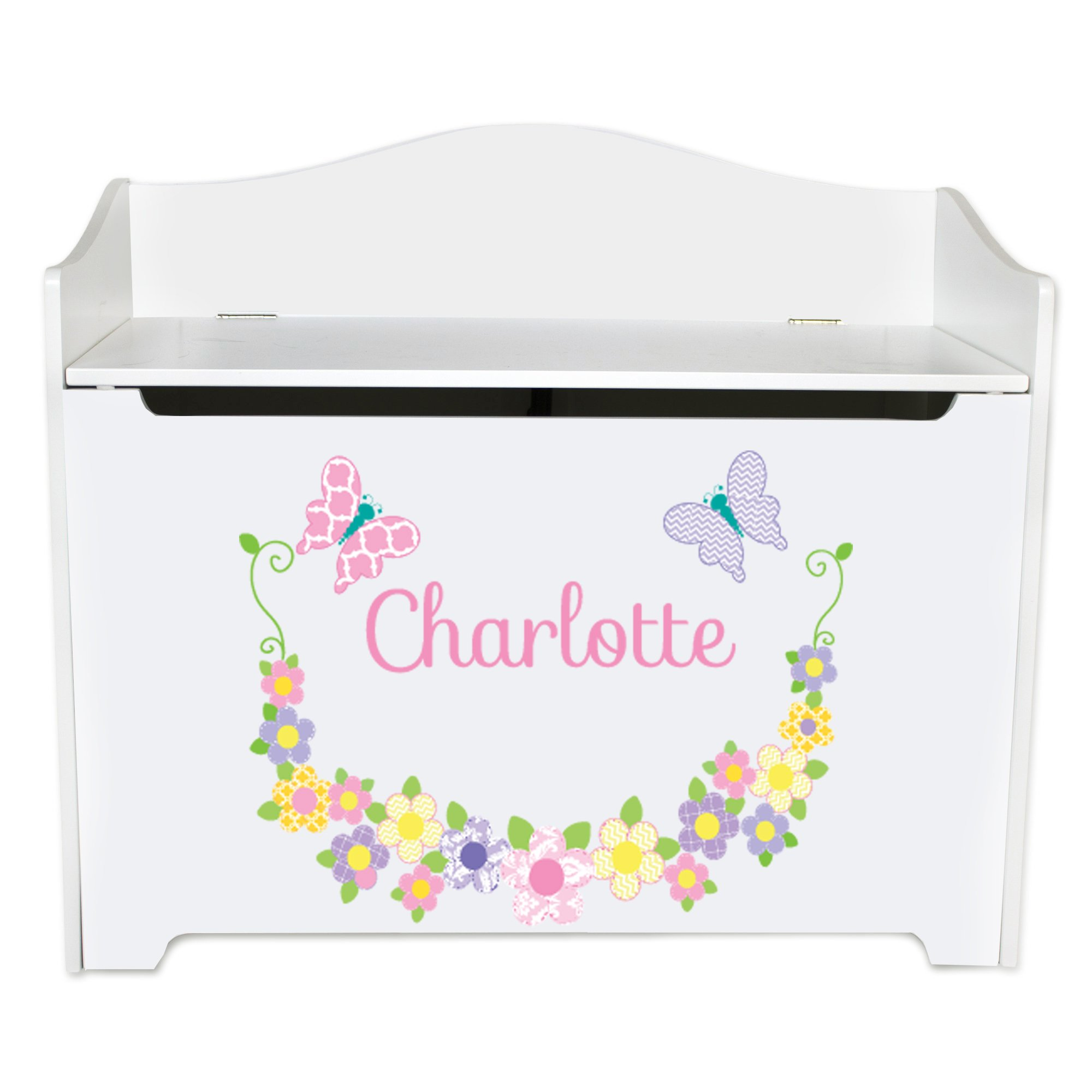 Personalized Pastel Butterflies Toy Box Bench Custom