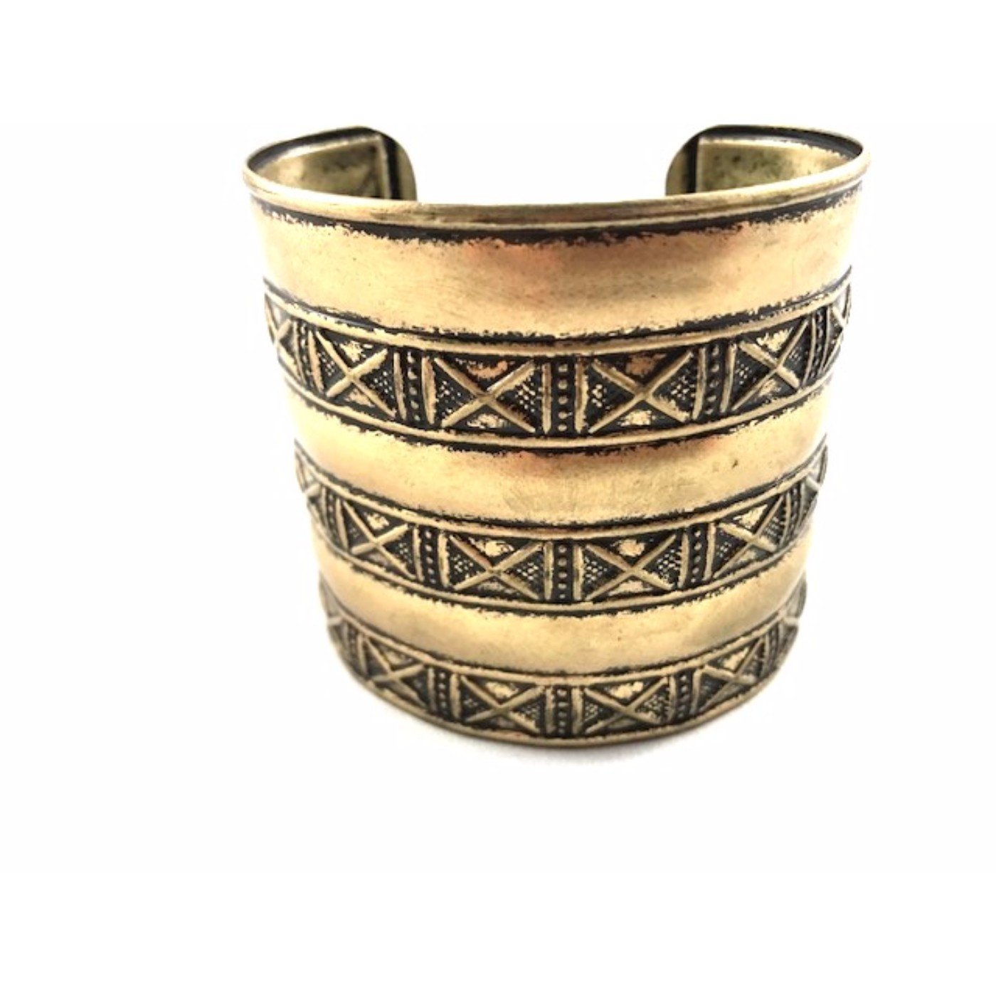 Global Huntress Retro Style Antique Gold Tone Embossed the Iconic Crisscross Motif Open End Cuff Bangle Bracelet