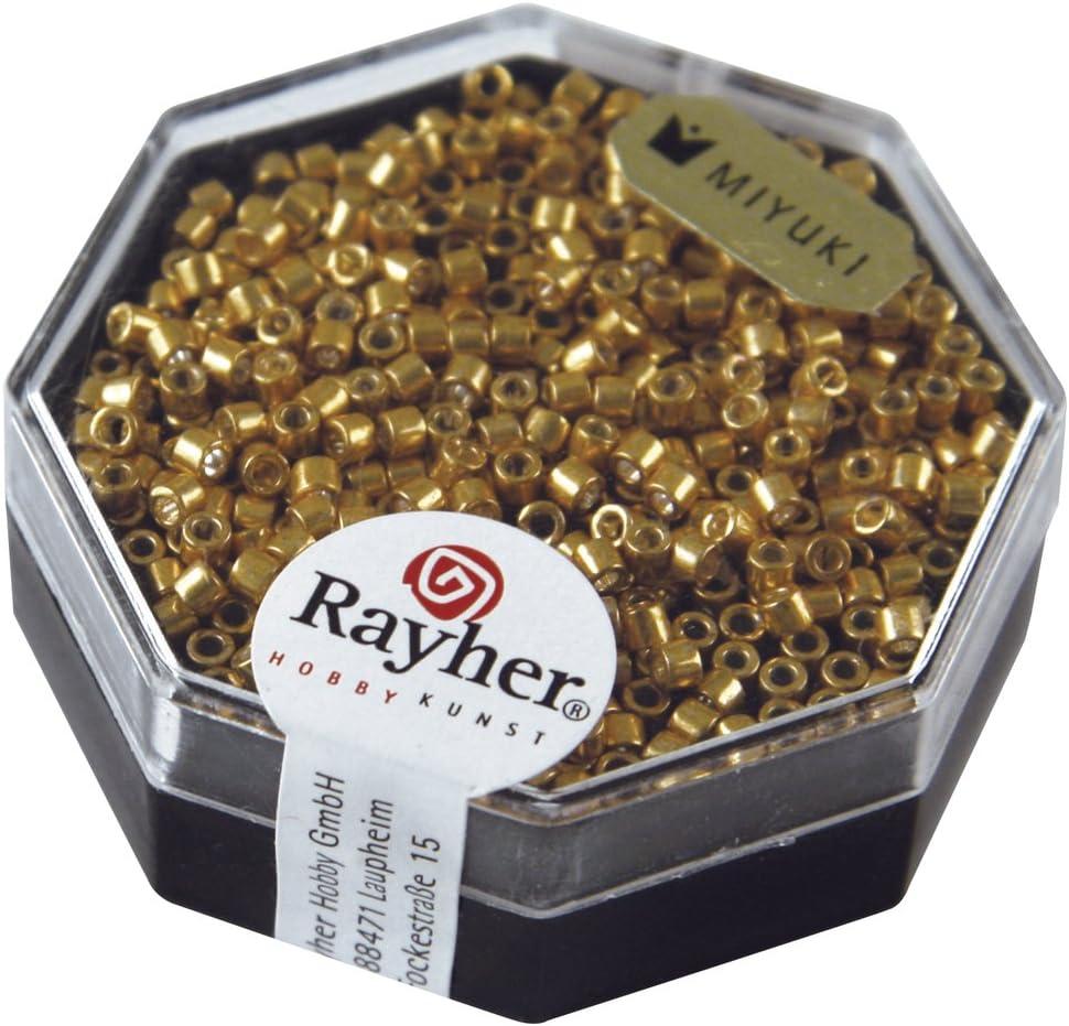 Rayher 14750616de Delica-Rocailles, 2,2mm de diámetro, Metálico, Oro