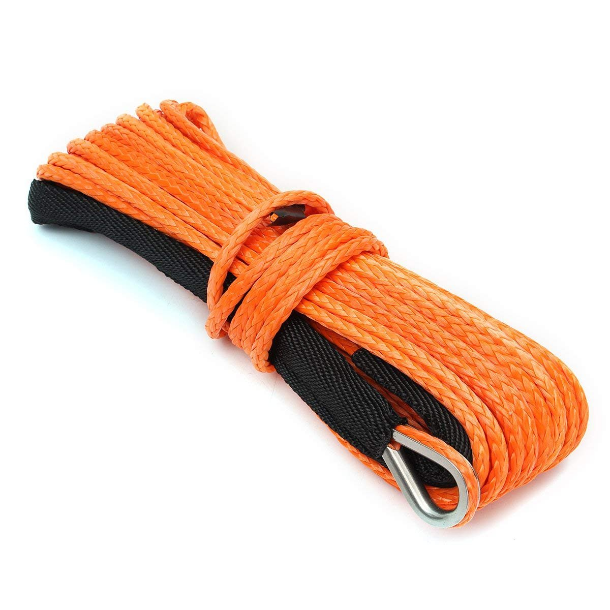 Synthetic Winch Rope ELUTO 49/'x1//4 7000+LBs Winch Rope Line Cable with Sheath Winches for Winches SUV ATV UTV Vehicle Boat Ramsey Car Orange