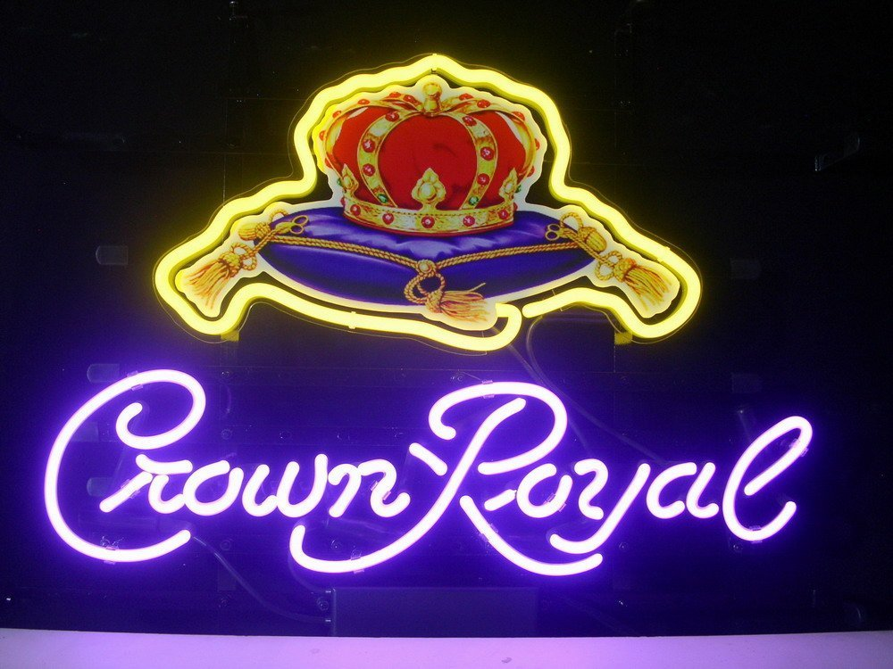 Urby® Crown Royal Real Glass Neon Light Sign Home Display Beer Bar Pub Sign L46X 24''x20''