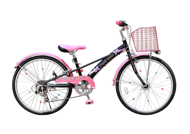 My Pallas(マイパラス) GRAPHIS 女の子用自転車(子供用自転車) 22インチ 6段変速 カラー/ブラック×ピンク GR-Ribbon B00OL7NUHI