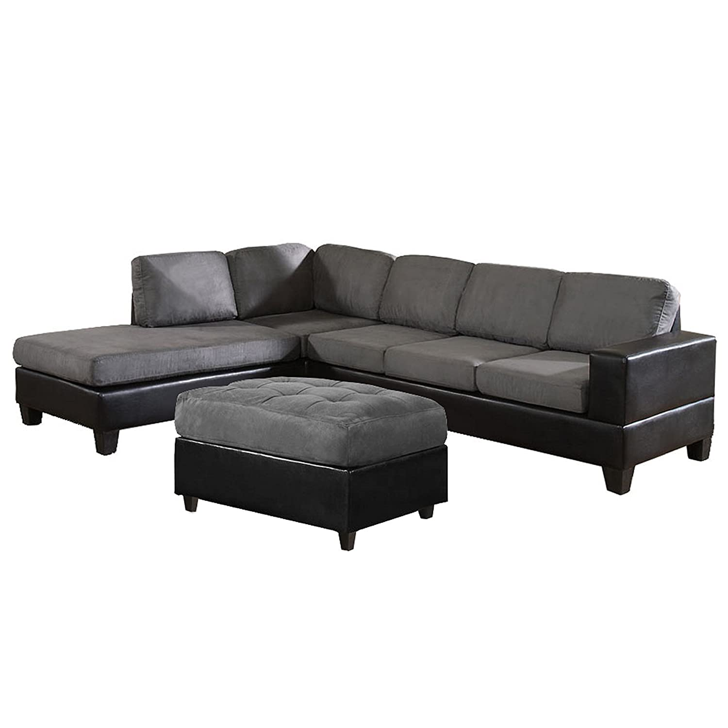 amazoncom us pride sierra microfiber sectional sofa with ottoman left gray kitchen u0026 dining