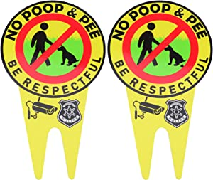 2 PCS No Poop and Pee Signs No Poop Dog Sign Dog Signs for Yard with Stake Glow Sign Politely Reads: Be Respectful Stop Dogs from Pooping or Peeing On Your Lawn Yard Sign