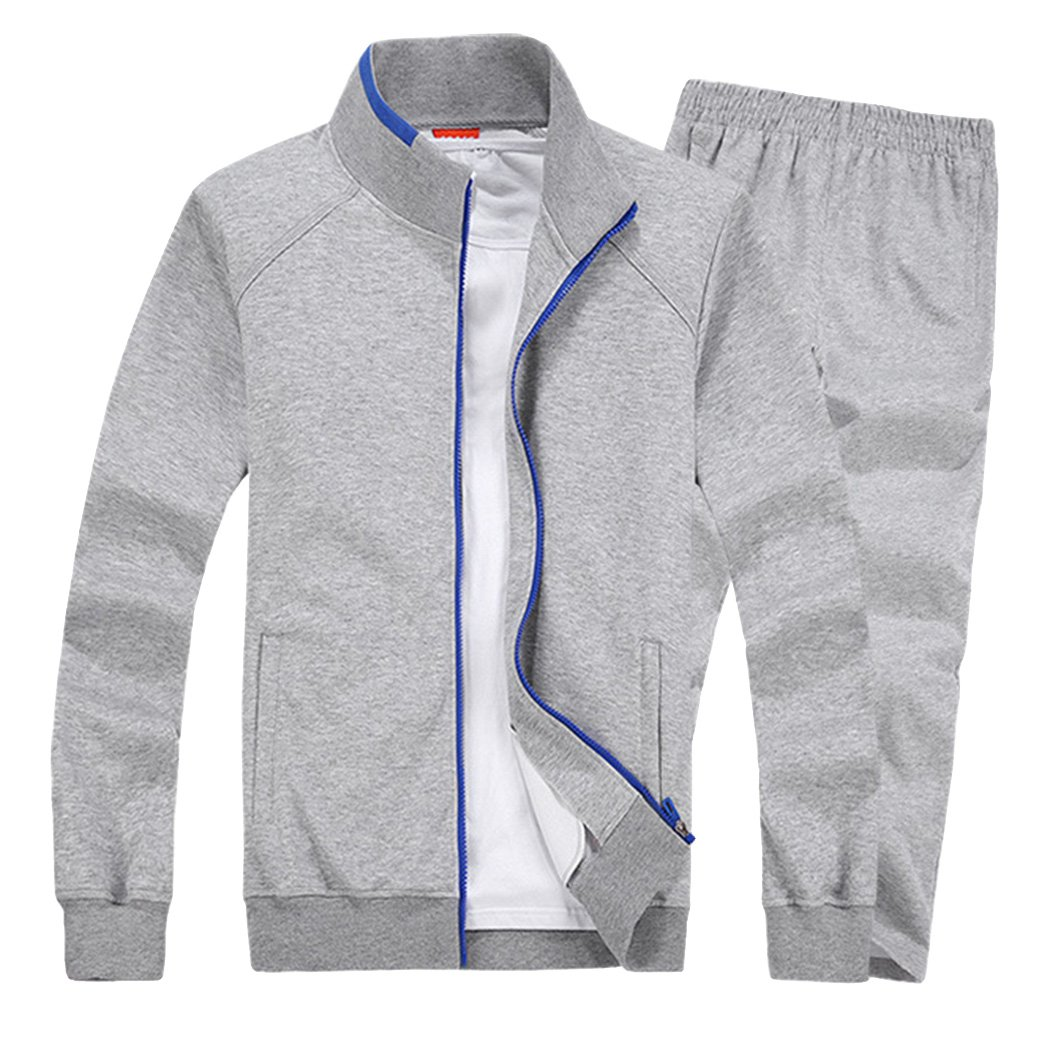 Modern Fantasy Men's Solid Sweatsuit Running Joggers Sports Jacket & Pants Tracksuit Big LightGray S