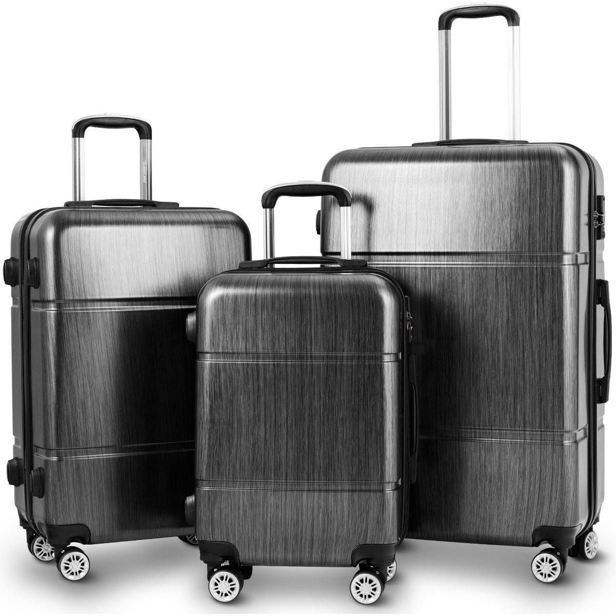 0193374f821d Goplus Luggage 3 Pieces Expandable Luggage Sets (20/24/28), PC+ABS  Lightweight Hardshell Suitcase w/TSA Lock Spinner Set (Black)