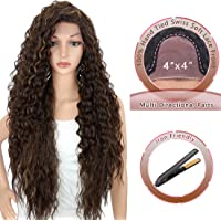 "Kalyss 28 Inches 4x4"" Multi Directional Parts Synthetic Lace Front Wigs for Black Women Heat Resistant Curly Wavy Free Parting 150% Density Frontal Lace Brown Highlights Wigs with Baby Hairs"