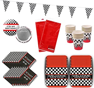 Race Car Party Birthday Racing Party Supplies Tableware Pack Bundle for 16 Includes 100 ft Checkered Pennant Banner