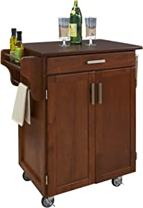 Create-a-Cart Warm Oak 2 Door Cabinet Kitchen Cart with Cherry Top by Home Styles