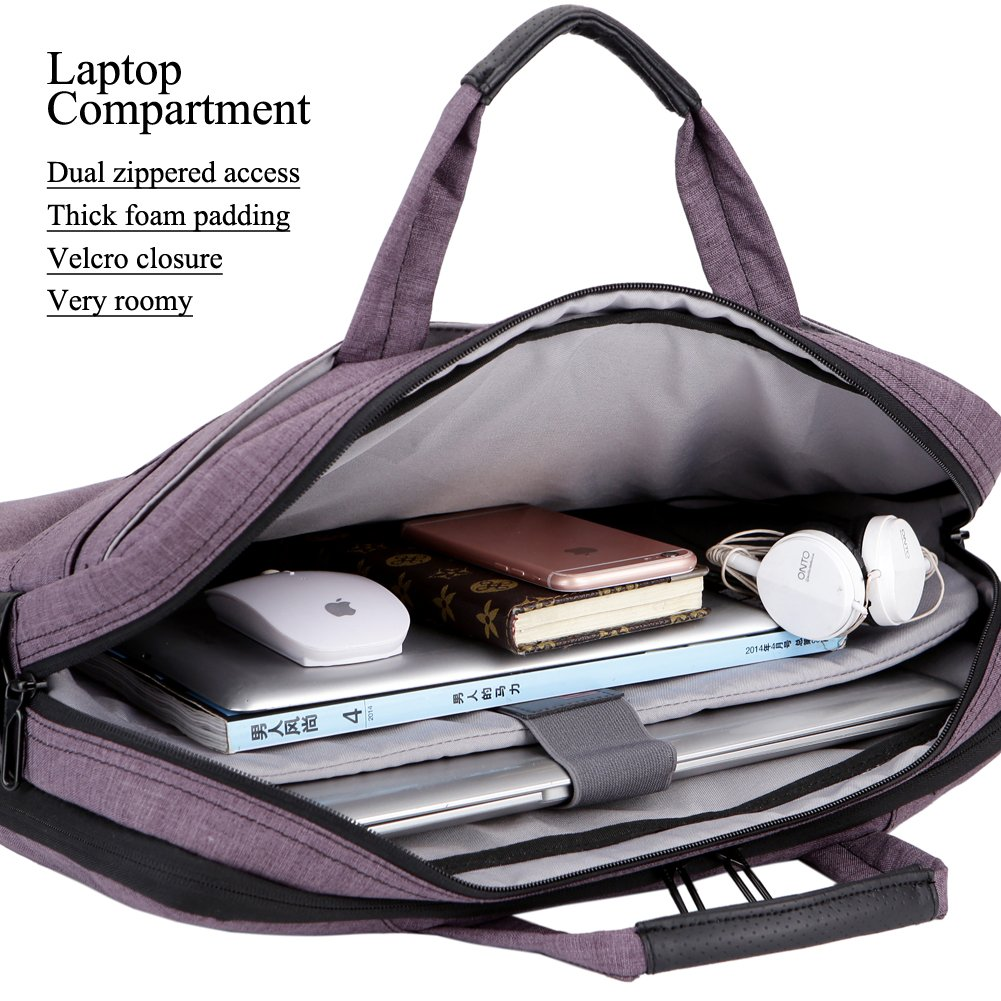 BRINCH 17.3 Inch Nylon Shockproof Carry Laptop Case Messenger Bag For 17-17.3 Inch Laptop/Notebook/MacBook/Ultrabook/Chromebook with Shoulder Strap Handles and Pockets (Dark Purple) by BRINCH (Image #4)