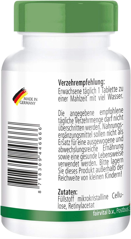 Vitamina A 10000 UI - Bote para 4 meses - Altamente dosificado - VEGANO - 120 comprimidos - retinilo - ¡Calidad Alemana garantizada!: Amazon.es: Salud y cuidado personal