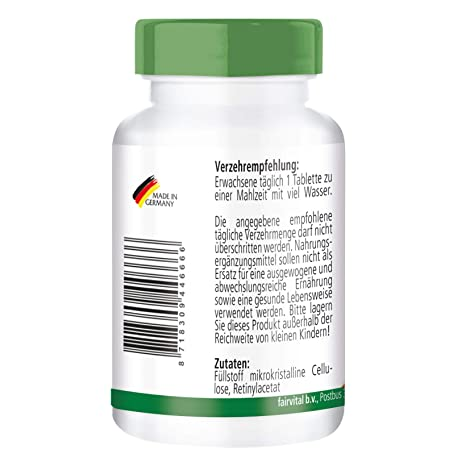 Vitamina A 10000 UI - Bote para 4 meses - Altamente dosificado - VEGANO - 120 comprimidos - retinilo - ¡Calidad Alemana garantizada!