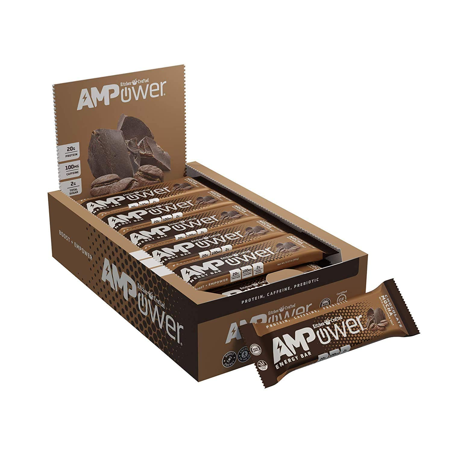 AMPower Energy Bars – High Protein (20g), Caffeine (1 Cup Of Coffee), Prebiotics, Low Sugar - Perfect for Pre-Workouts, Running, Cycling, Fitness Enthusiasts. Great Healthy Nutritious Snacks for Morning Boost or Meal Replacement (Pack of 12)