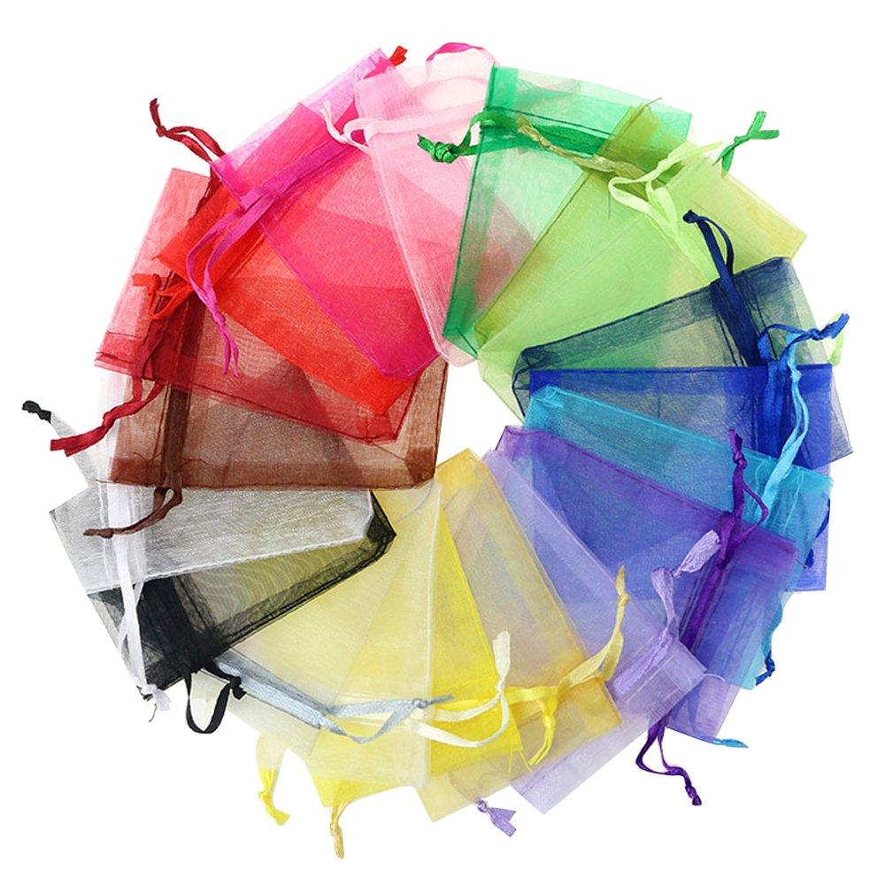 Contever Organza Multicolori Buste di Festa Favore Matrimonio Sacchetti Gioielli, 1.9 x 2.7 Pollice 100 Pezzi JE0986ASIN04
