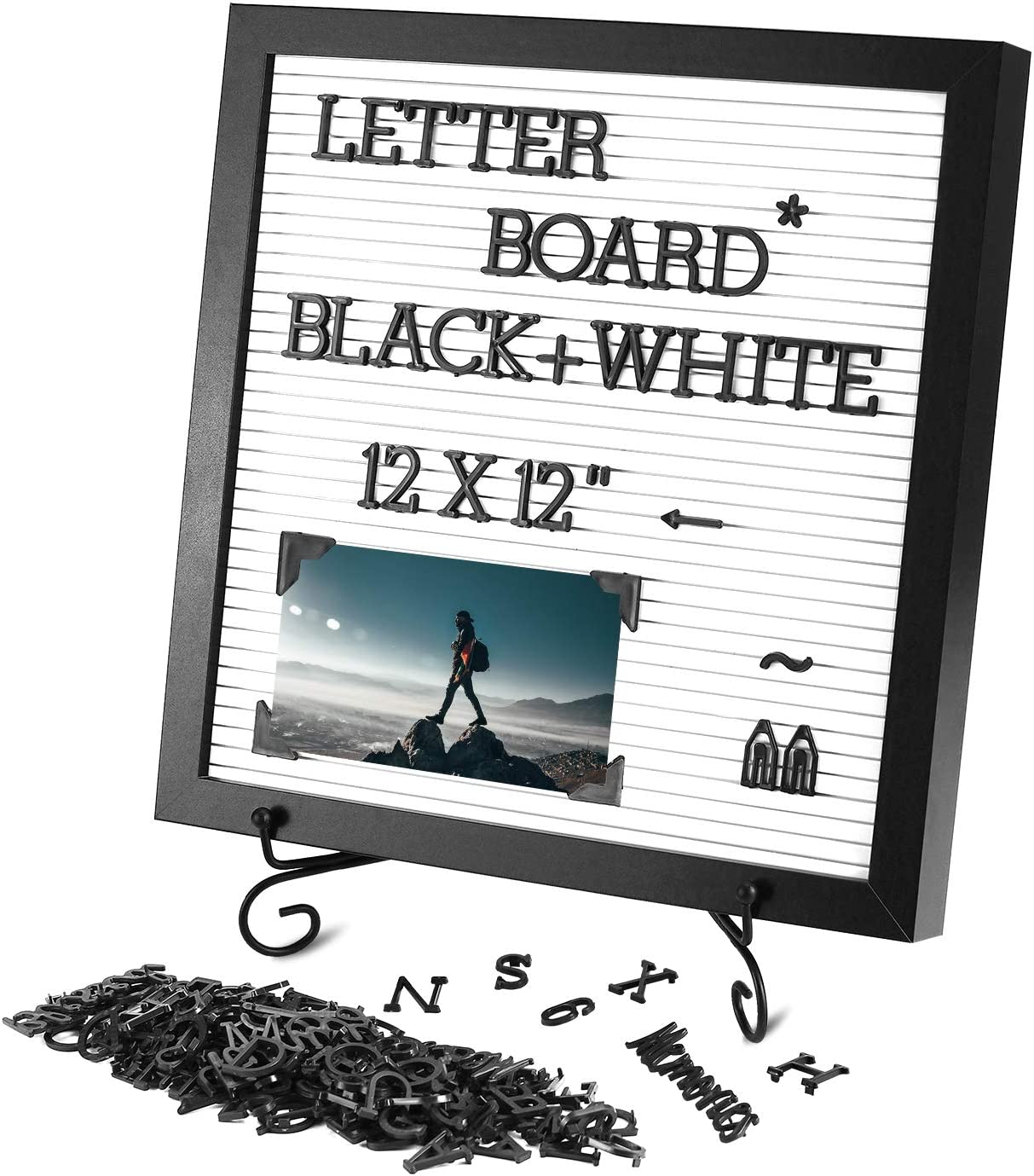 Changeable Letter Board 12x12 inches, Plastic Message Board with Metal Stand, Black Characters & Photo Clips, Message Sign for Wall/Tabletop Decor, Announcements and Menus Display.(Black & White)