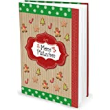 """'Livre de recettes (Hard Cover, A5) """"Mes biscuits Vert et Rouge, avec 136pages vide avec table des matières; le cadeau parfait Set de anniversaire, Noël, etc."""