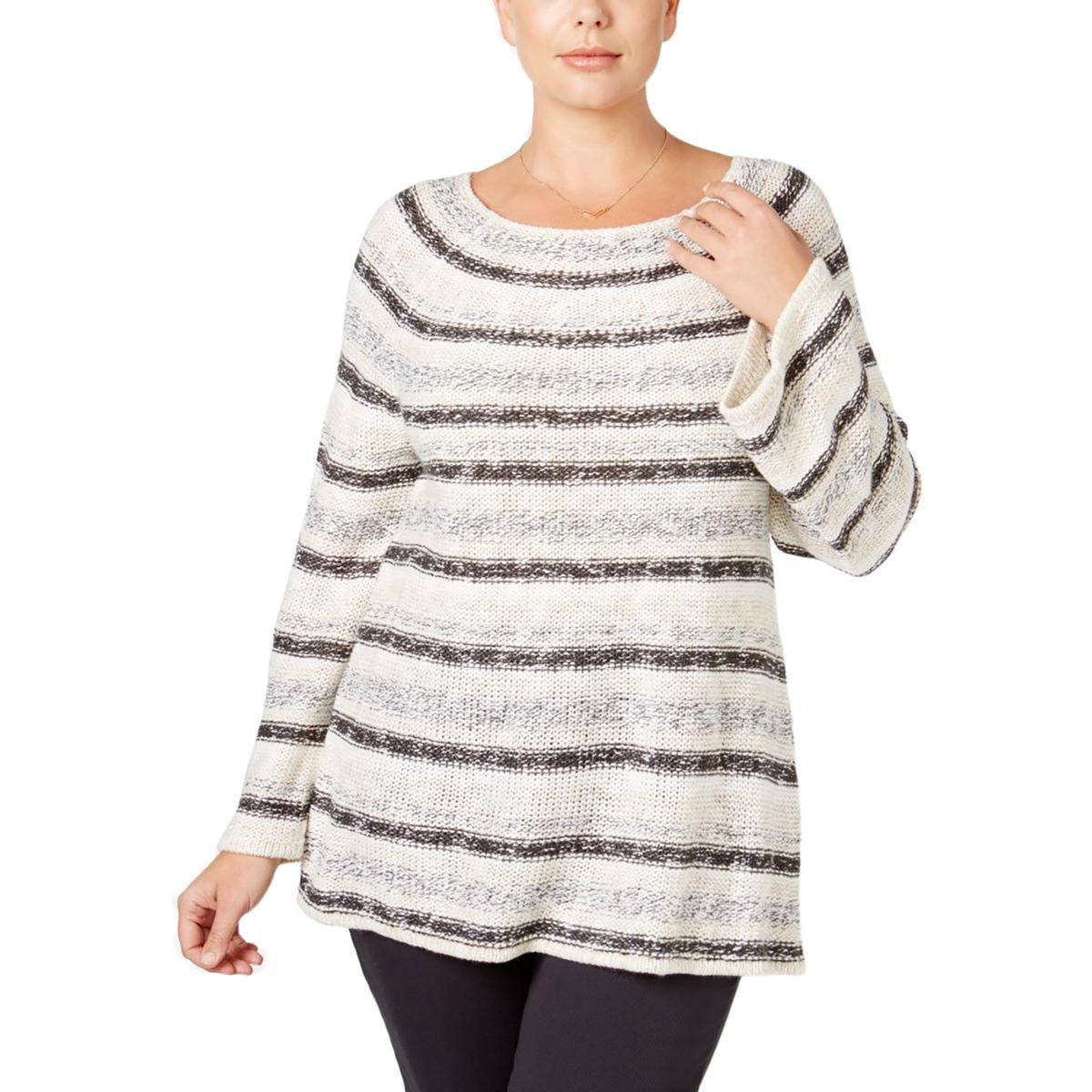 Style & Co. Womens Plus Metallic Striped Pullover Sweater Ivory 3X