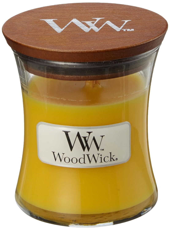 Woodwick 98077,Citronella di piccole Duftkerze nel clessidra decorativa vetro, colore Giallo, 7.1x 7.0x 7.8cm