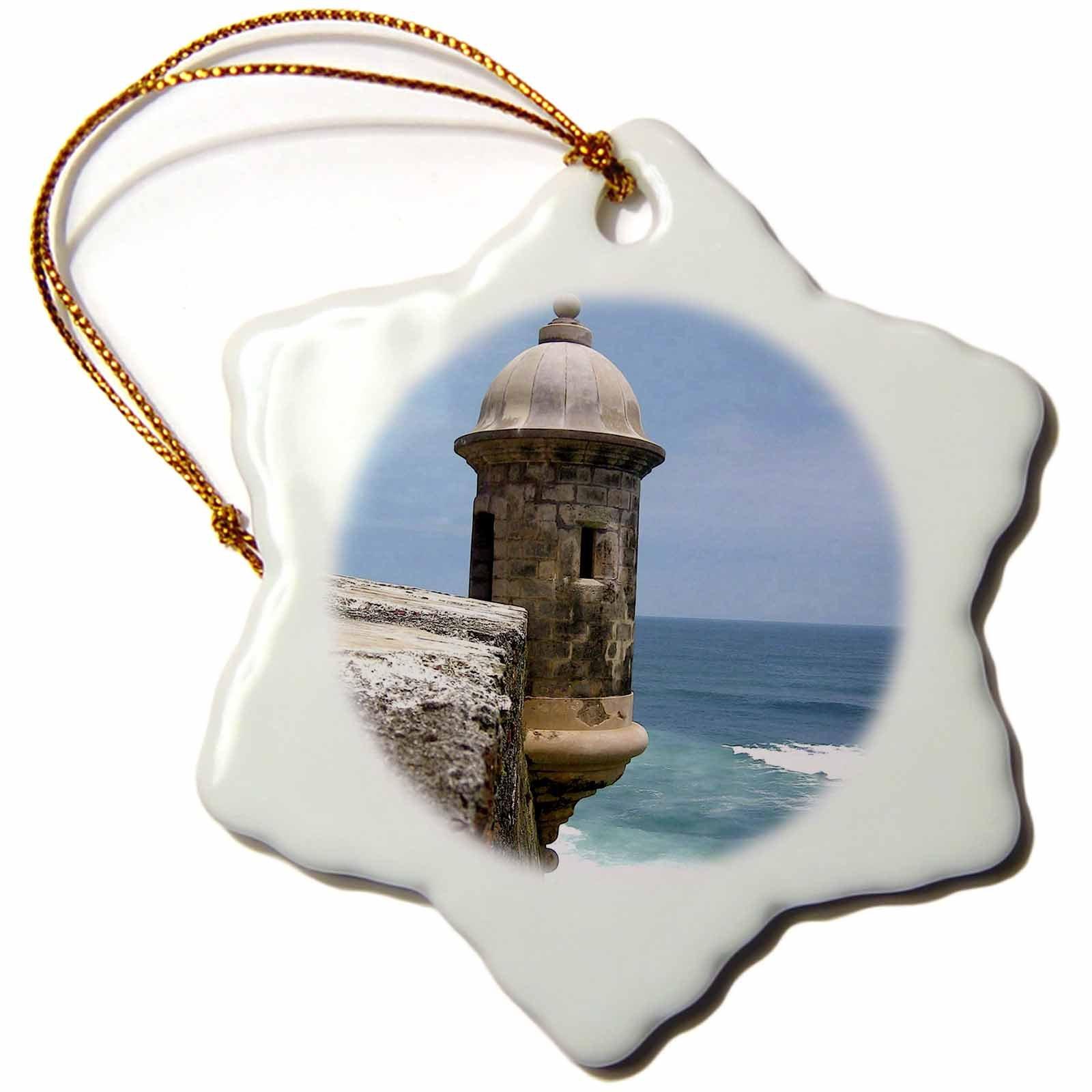 3dRose orn_72245_1 Puerto Rico San Juan Fort San Felipe del Morro Miva Stock Snowflake Decorative Hanging Ornament, Porcelain, 3-Inch