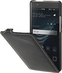 StilGut UltraSlim Case, Custodia Flip Case in Vera Pelle per Huawei P9 Plus, Nero