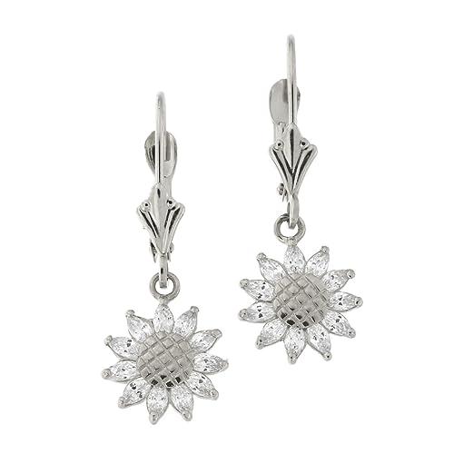 17076b8b8 Amazon.com: 14k White Gold Cubic Zirconia Sunflower Leverback Dangle  Earrings: Jewelry