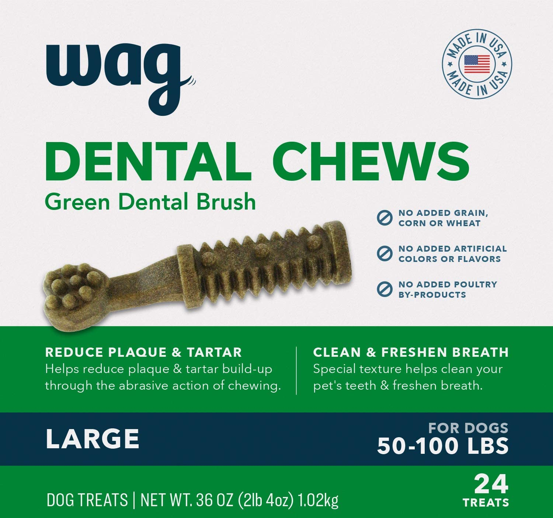 Amazon Brand-Wag Dental Dog Treats to Help Clean Teeth & Freshen Breath- Large