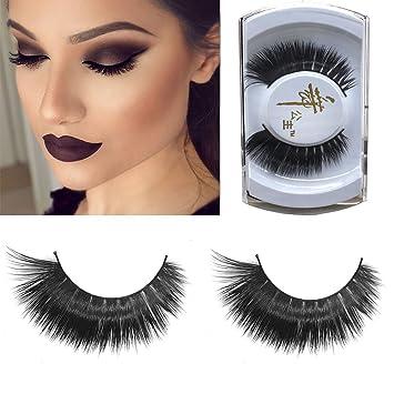 298c73bc70d Amazon.com : Oceaneshop 1 Pair Women Natural Black Makeup Tool Eye Lash  Extension Fake False Eyelashes 100% Real Mink : Beauty