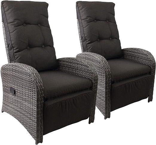 2 pieza Jardín Ratán Polirratán Sillón Relax sillón Lounge Sillón con reposapiés ajustable gris + – Fregadero Negro de muebles muebles de terraza balcón Muebles Muebles de Jardín: Amazon.es: Jardín