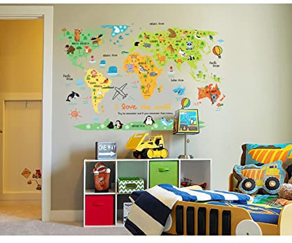 Amazon kids world map poster wall sticker illustrated kids world map poster wall sticker illustrated childrens world map gumiabroncs Images
