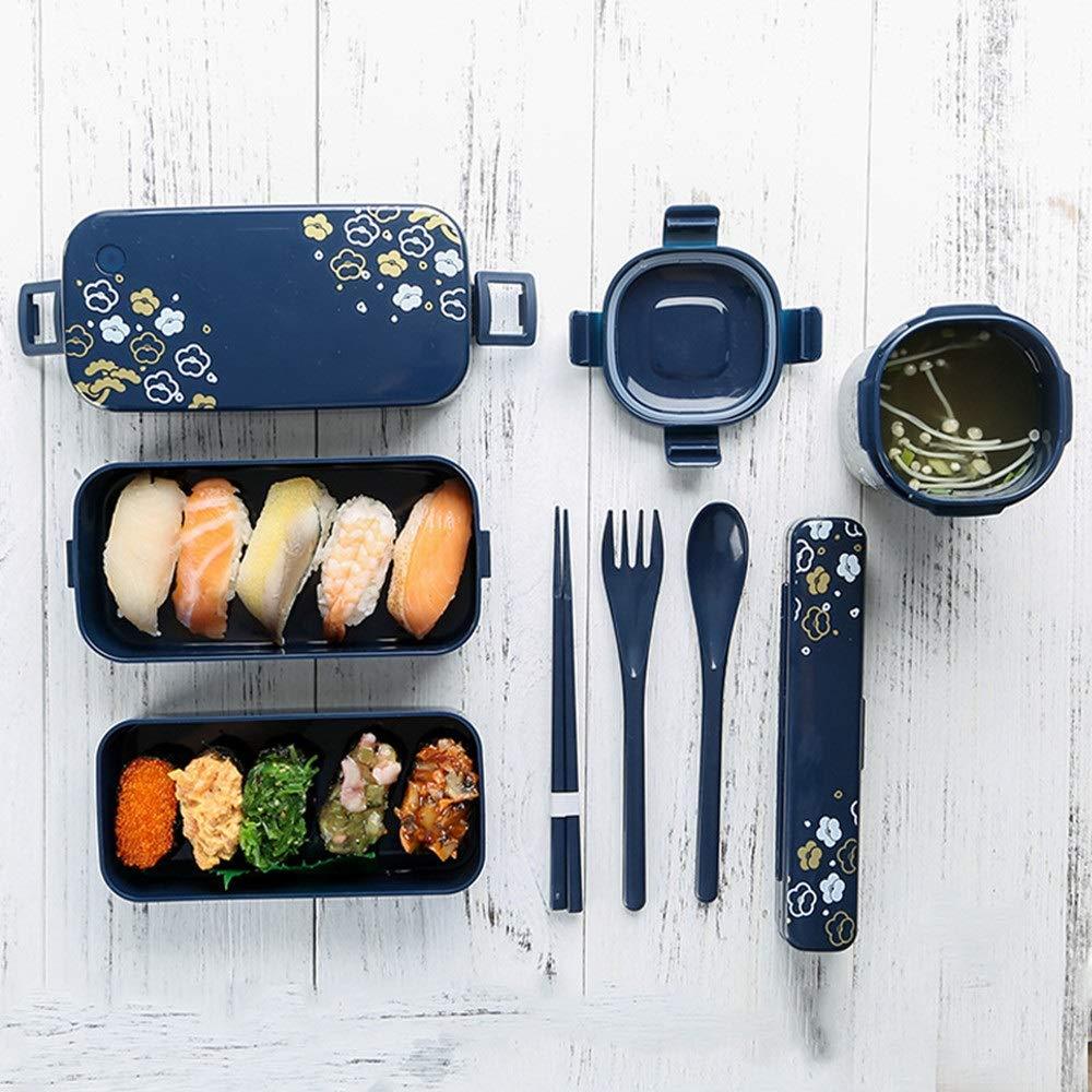 3ピースさくら弁当箱スイート二層弁当箱付きロック、3格子長方形食品収納ボックススープボトル、電子レンジ加熱 (Color : Blue, Size : S) B07QGDR84Y Blue Small