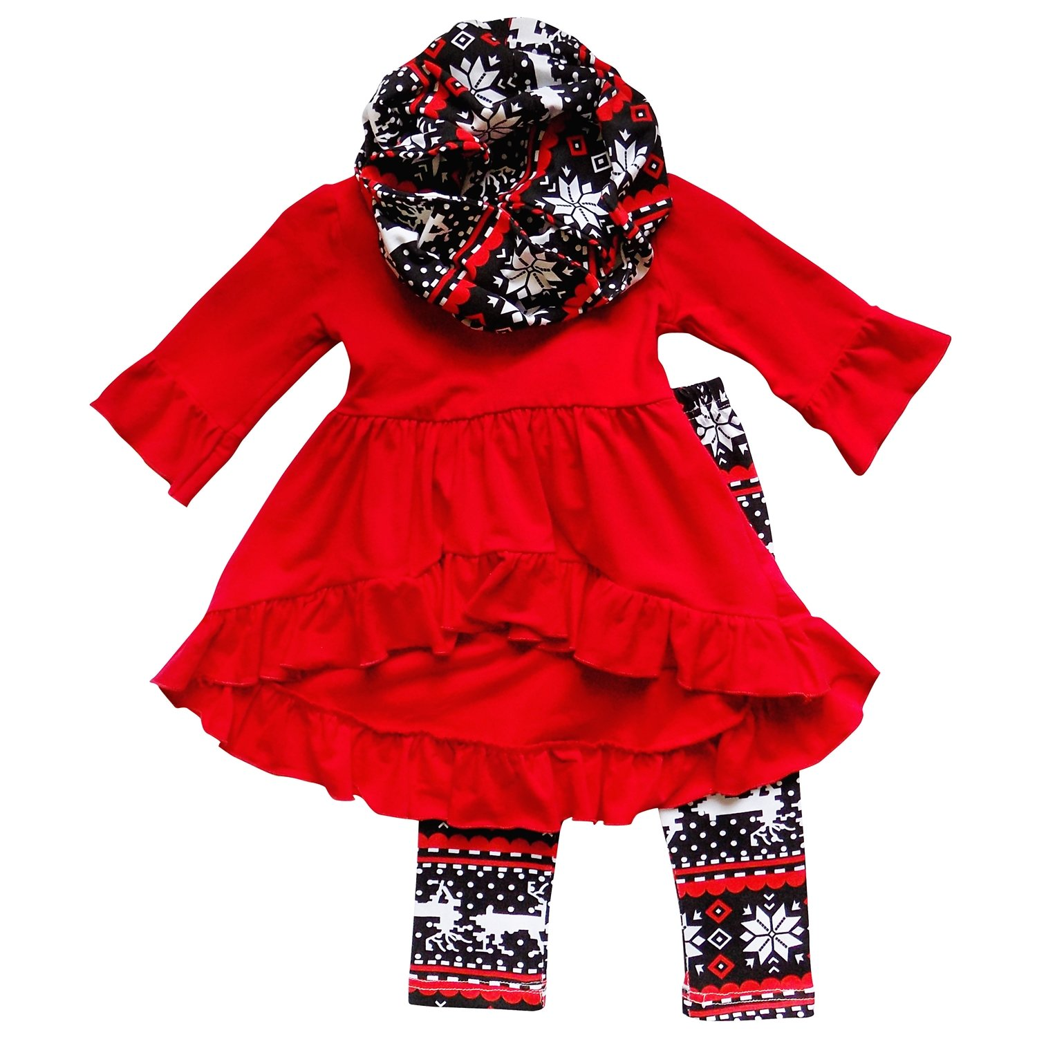 So Sydney Toddler Girls 3 Pc Hi Lo Christmas Holiday Ruffle Tunic Outfit, Scarf (S (3T), Red Fair Isle Reindeer)