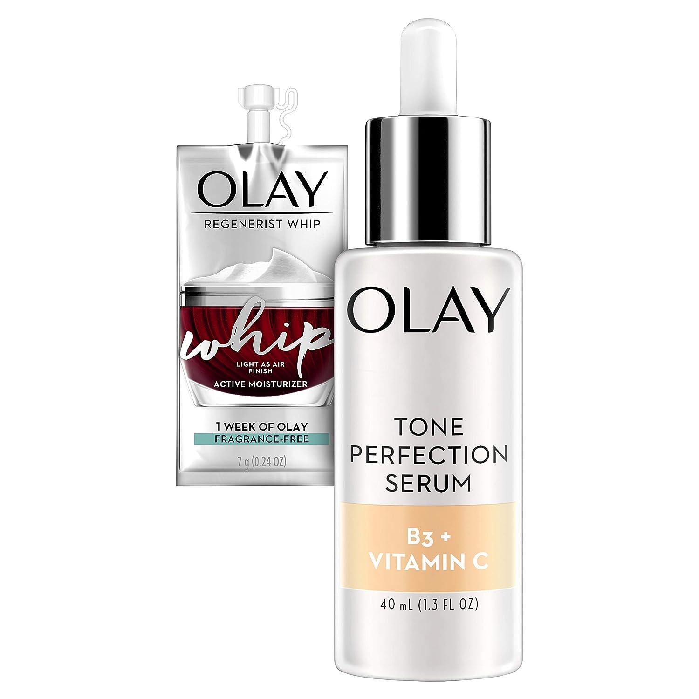 Olay Vitamin C Tone Perfection Serum, 1.3 Fl Oz + Whip Face Moisturizer Travel/Trial Size Bundle