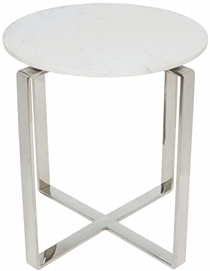 Rosa Round Marble Top Side Table With Polished Stainless Steel Base