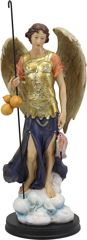 Amazon Com Ebros Large Catholic Church Archangel Raphael With Staff And Healing Oil Statue 14 Tall Saint Rafael God S Healing And Restoration Decorative Altar Figurine Home Kitchen