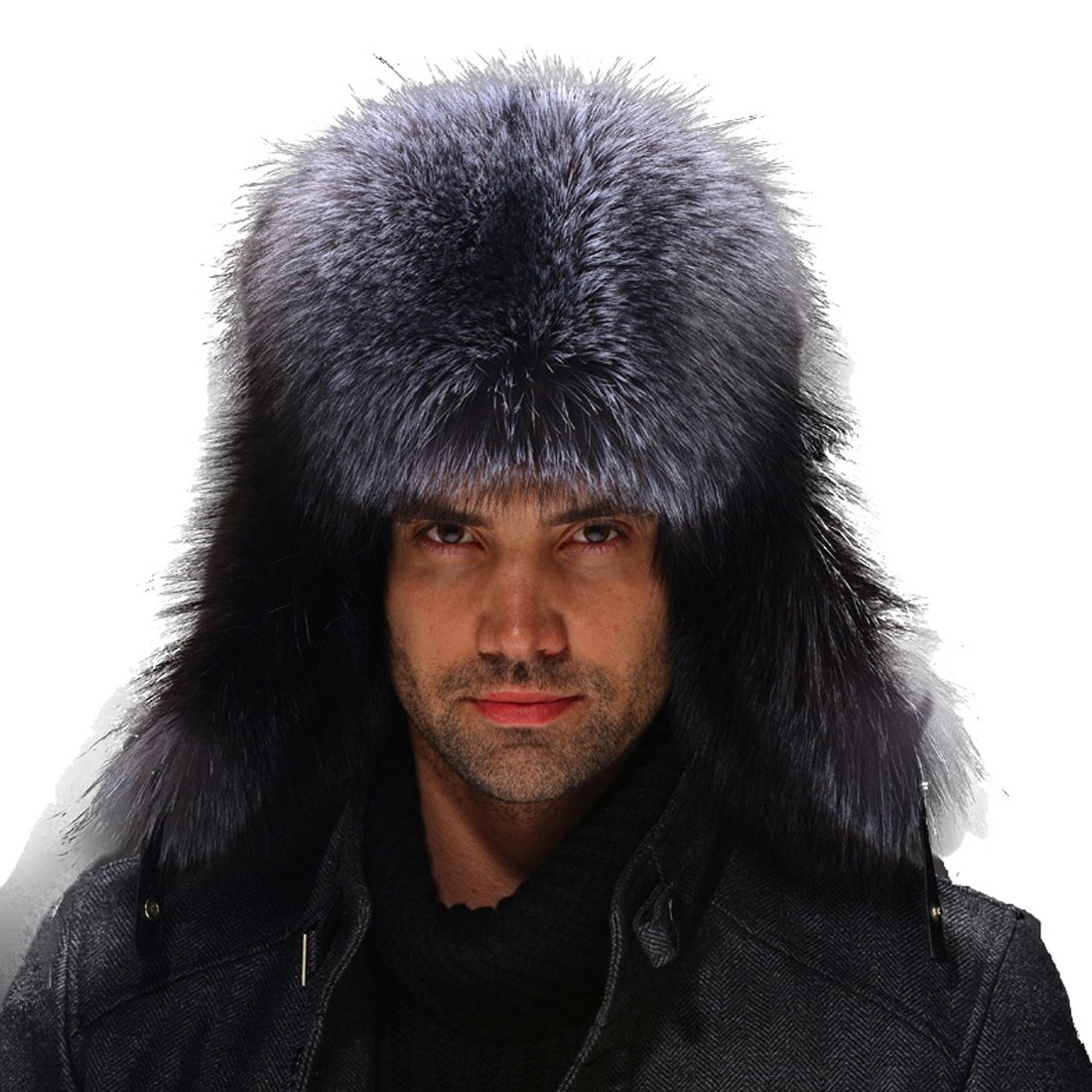 URSFUR Silver Fox Fur & Leather Russian Ushanka Hat (One Size, Silver Fox Natural Color)