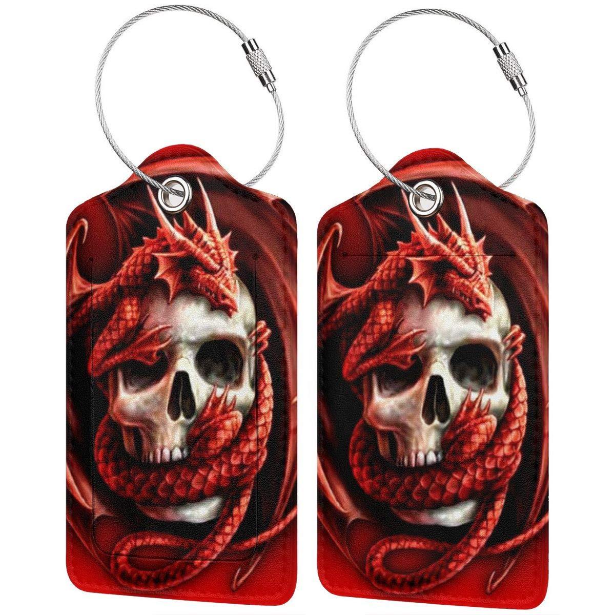 Red Dragon And Skull Luggage Tag Label Travel Bag Label With Privacy Cover Luggage Tag Leather Personalized Suitcase Tag Travel Accessories