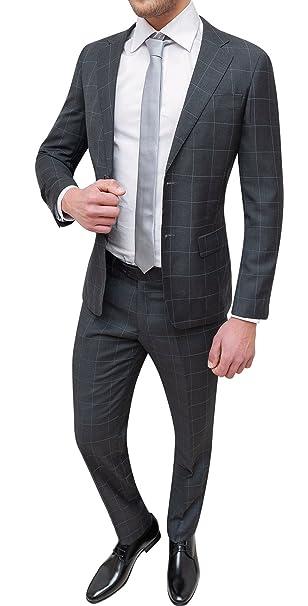 f3a64a176c3c Abito Completo Uomo Sartoriale Grigio Scuro Quadri Smoking Vestito Elegante  Cerimonia  Amazon.it  Abbigliamento