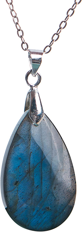 Reikocrystalbeads Natural Labradorite Crystal Water Drop Pendant