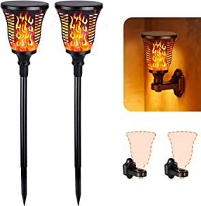 Albrillo Upgraded Solar Torch Lights Outdoor, Brighter Flickering Flames Torch Lamps, Landscape Lighting for Garden Patio Yard Driveway, Dusk to Dawn Auto On/Off, Waterproof IP 55, 2 Pack