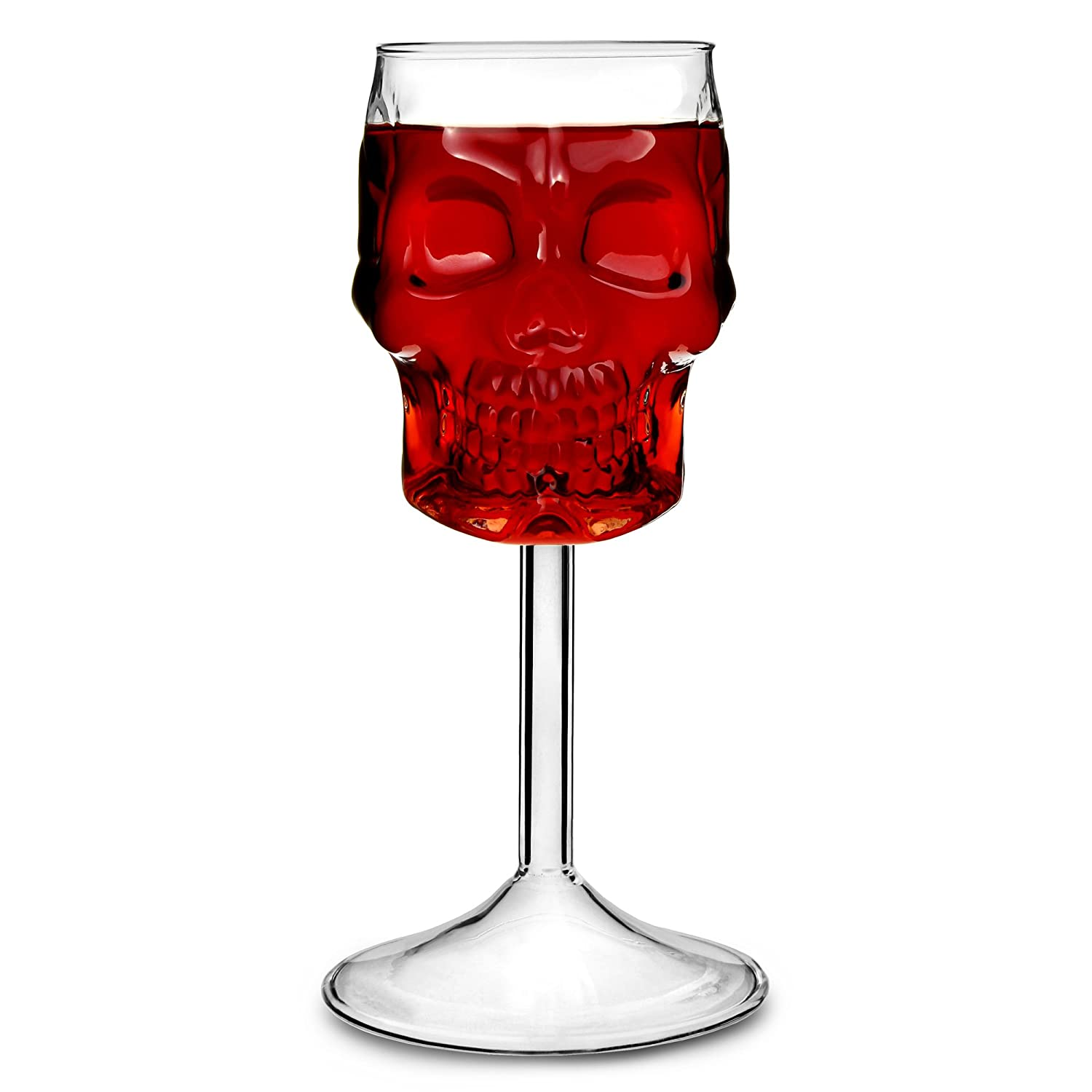 bar@drinkstuff Skull Wine Glasses 16oz/450ml - Case of 2 - Novelty Halloween Glassware
