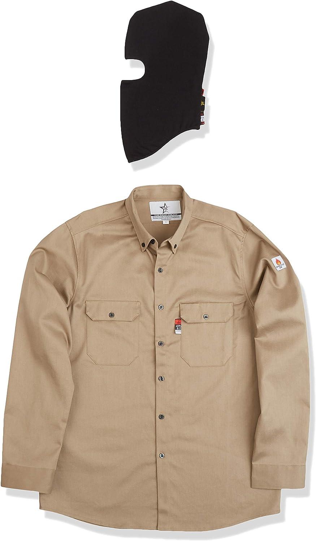 Texas FRC - Paquete de una camisa de manga larga con botones resistentes al fuego, y una mascarilla para los hombres: Amazon.es: Bricolaje y herramientas