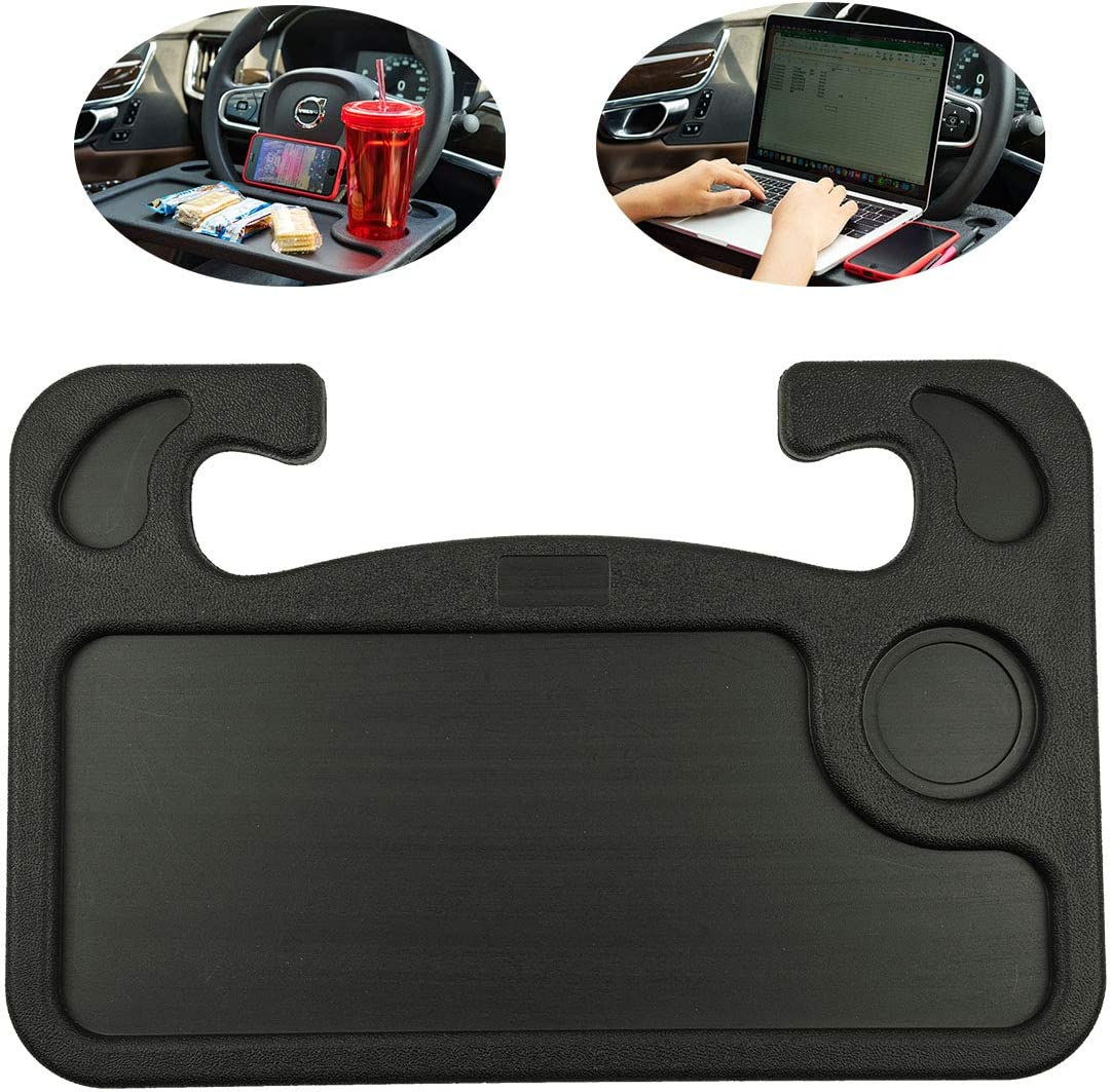 Homymusy Car Steering Wheel Tray Laptop Notebook Car Desk for Working and Food Eating Portable Desk Easy Take On and Off,Black