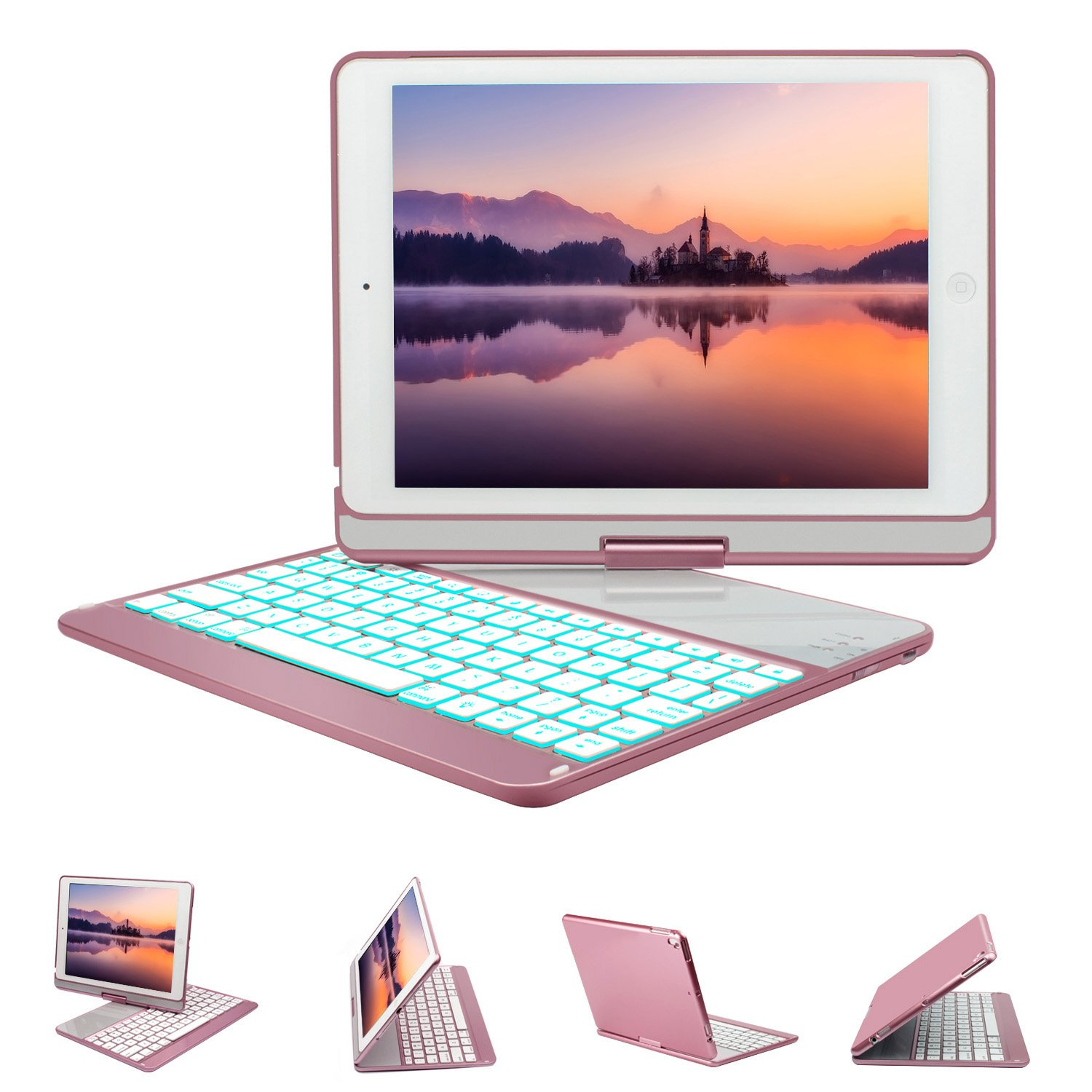 Greenlaw iPad 9.7 Keyboard Case Compatible iPad 2018(6th Gen)/2017(5th Gen)/iPad Pro 9.7/Air 2/Air, 360 Rotate 7 Color Backlit Wireless BT Keyboard Case Cover with Auto Wake/Sleep-Rose Gold